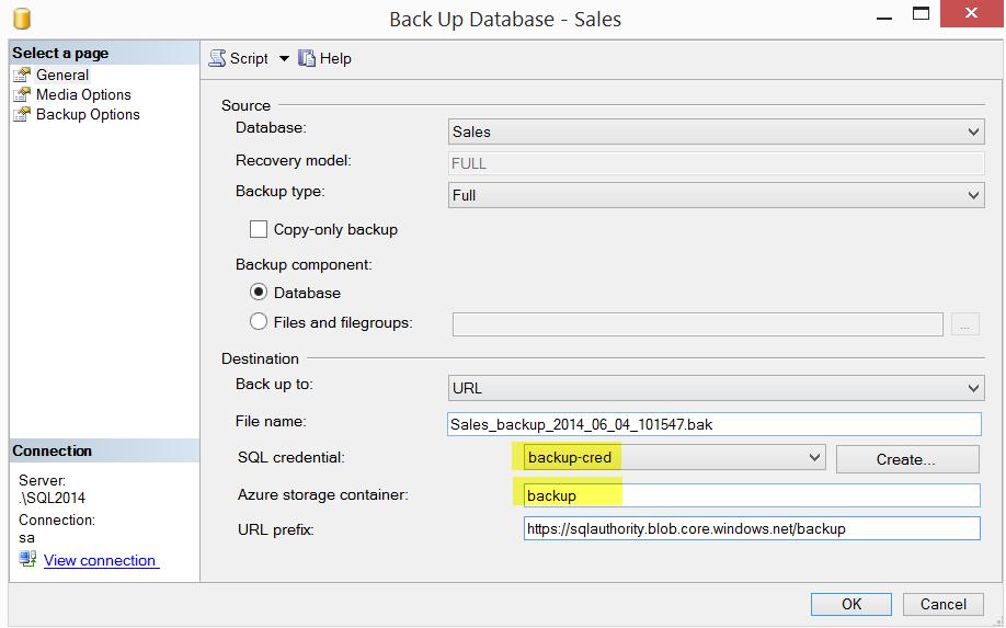 SQL SERVER - Backup to Azure Blob using SQL Server 2014 Management Studio azurebackups7