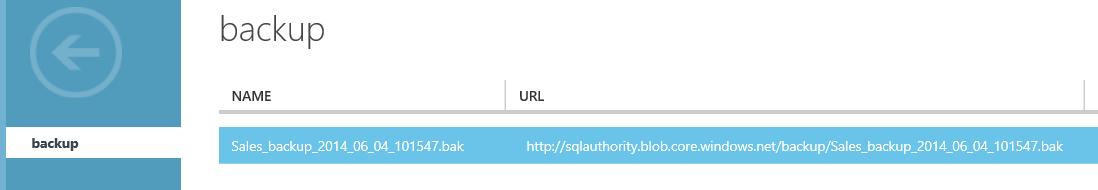 SQL SERVER - Backup to Azure Blob using SQL Server 2014 Management Studio azurebackups8