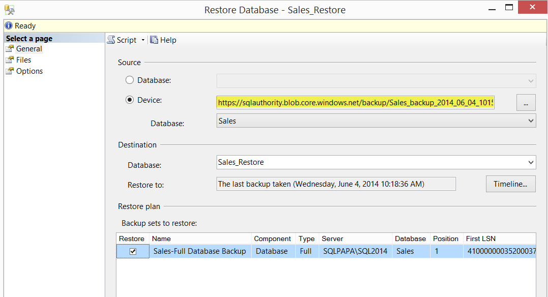 SQL SERVER - Backup to Azure Blob using SQL Server 2014 Management Studio azurebackups9