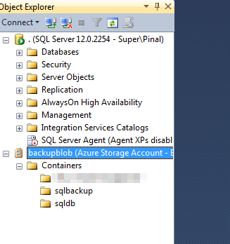 SQL SERVER - Connecting to Azure Storage with SSMS azureconnect6