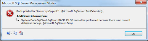 SQL SERVER - FIX : ERROR : 4214 BACKUP LOG cannot be performed because there is no current database backup backuperror