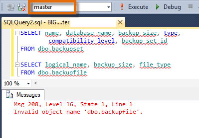SQL SERVER - Error: Fix - Msg 208 - Invalid object name 'dbo.backupset' - Invalid object name 'dbo.backupfile' backupfileerror