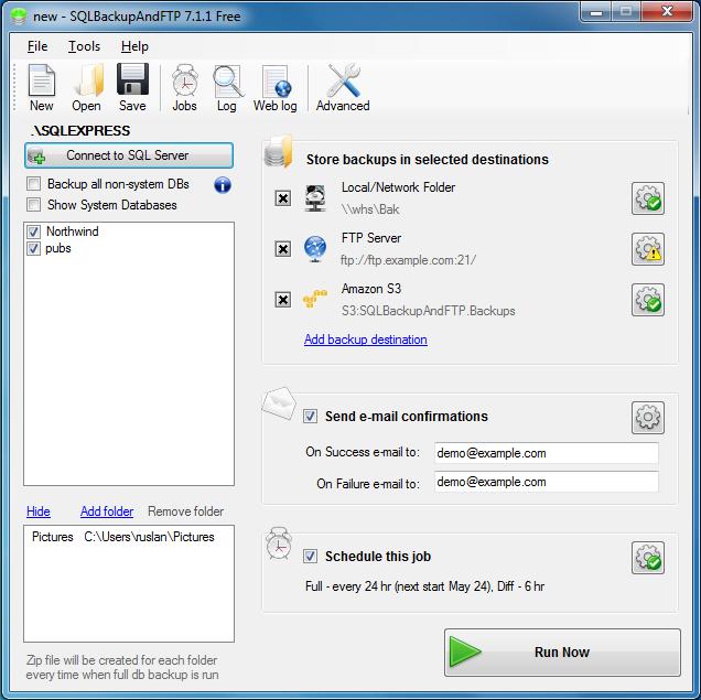 SQL SERVER - Sends backups to a Network Folder, FTP Server, Dropbox, Google Drive or Amazon S3 backupandftp1