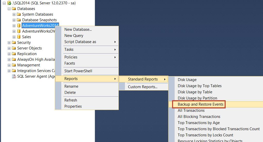 SQL SERVER - SSMS: Backup and Restore Events Report backupreport1