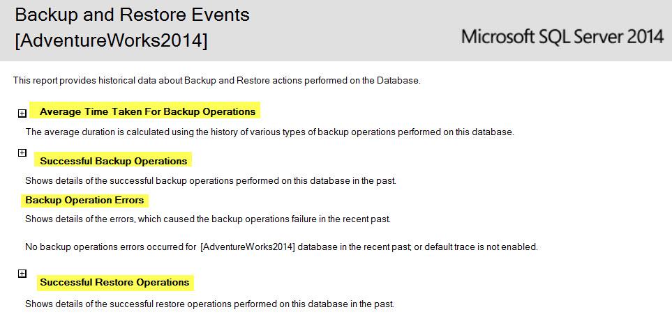 SQL SERVER - SSMS: Backup and Restore Events Report backupreport2
