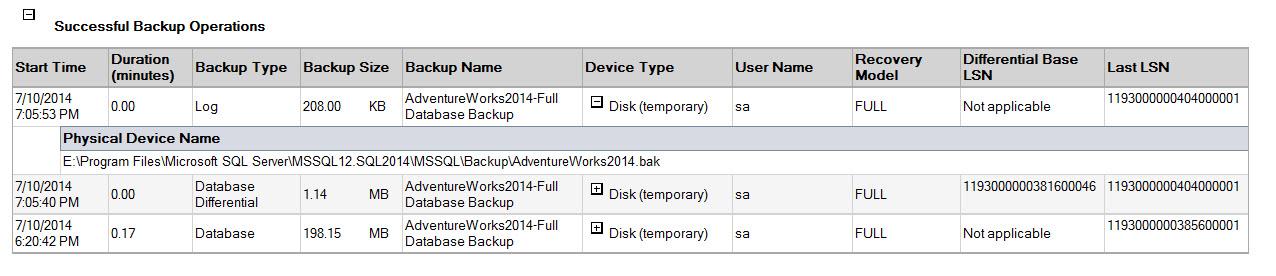 SQL SERVER - SSMS: Backup and Restore Events Report backupreport4