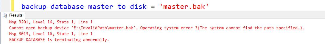SQL SERVER - FIX - Error 3201 - Cannot open backup device. Operating system error 3 bkp-default-01