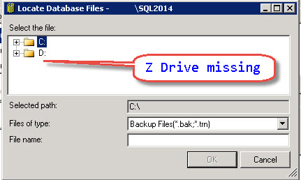 SQL SERVER - Backup on mapped drive failing with error - Error 3201, Level 16, State 1 bkp-map-drive-02