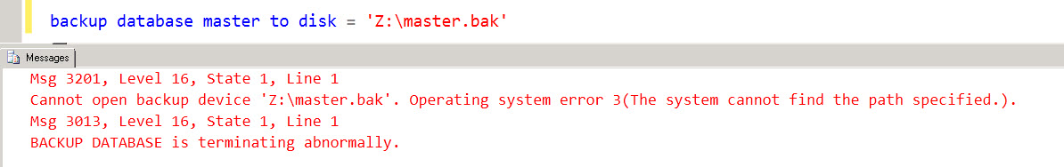 SQL SERVER - Backup on mapped drive failing with error - Error 3201, Level 16, State 1 bkp-map-drive-03