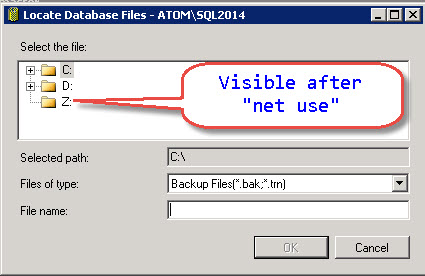 SQL SERVER - Backup on mapped drive failing with error - Error 3201, Level 16, State 1 bkp-map-drive-06