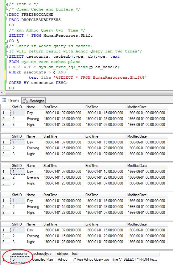 SQL SERVER - 2008 - Optimize for Ad hoc Workloads - Advance Performance Optimization cachetest2