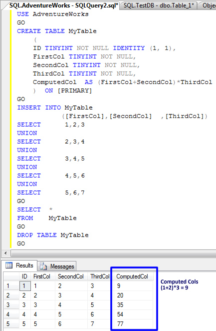 SQL SERVER - Puzzle - Solution - Computed Columns Datatype Explanation compcol1