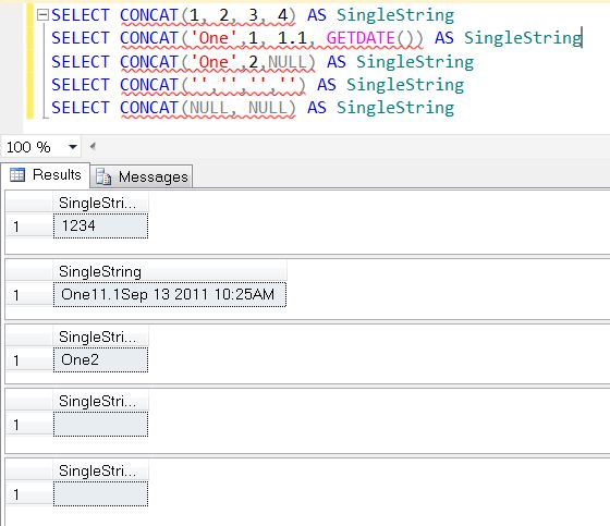 SQL SERVER 2012 - String Function CONCAT() - A Quick Introduction concat1
