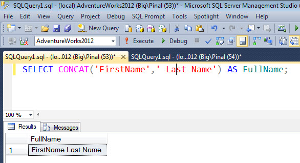 SQL SERVER - MySQL - PostgreSQL - How to Concat Strings? concatsqlserver