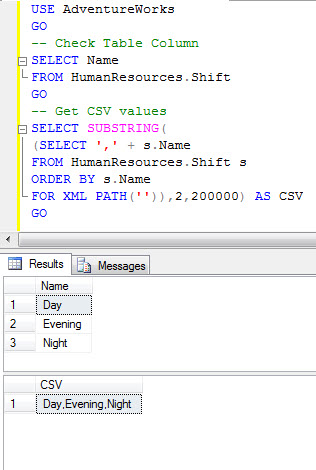 SQL SERVER - Comma Separated Values (CSV) from Table Column csvxml