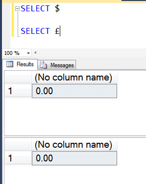 SQL SERVER - Interesting Observation with Currency Symbols currency1