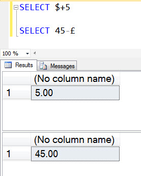 SQL SERVER - Interesting Observation with Currency Symbols currency2