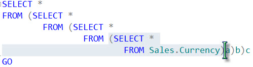 SQL SERVER - CTRL+SHIFT+] Shortcut to Select Code Between Two Parenthesis cursor2