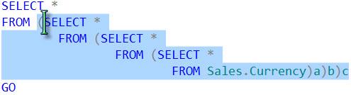 SQL SERVER - CTRL+SHIFT+] Shortcut to Select Code Between Two Parenthesis cursor3