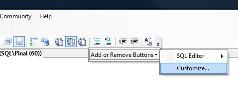 SQL SERVER - 2008 - Customize Toolbar - Remove Debug Button from Toolbar cust2