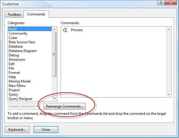 SQL SERVER - 2008 - Customize Toolbar - Remove Debug Button from Toolbar cust3