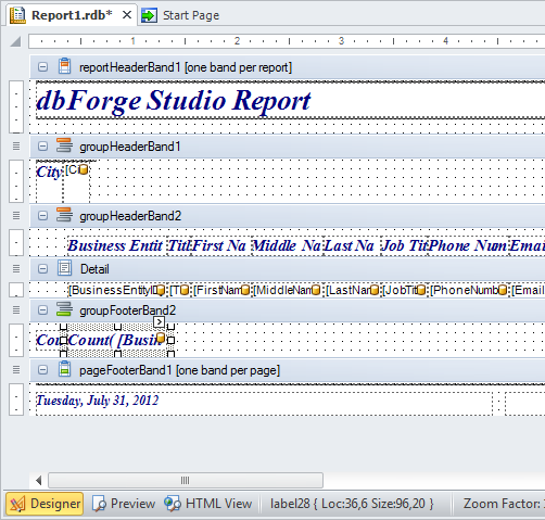 SQL SERVER - Development Productivity Tool - dbForge Studio for SQL Server data-report