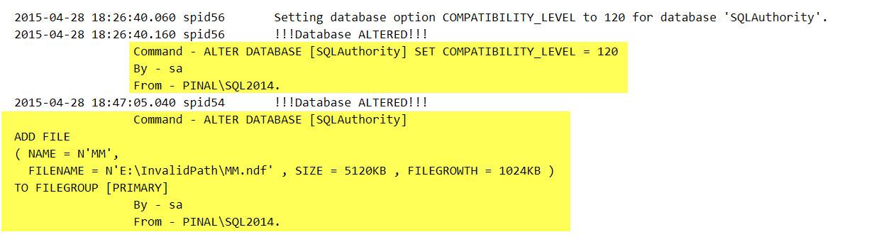 SQL SERVER - Who ALTER'ed My Database? Catch Them Via DDL Trigger ddl-trigger-01