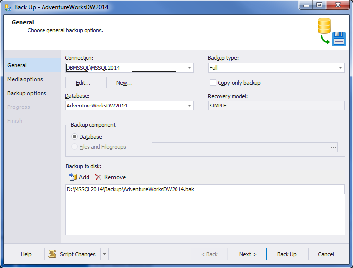 how to set up no backup required in sql