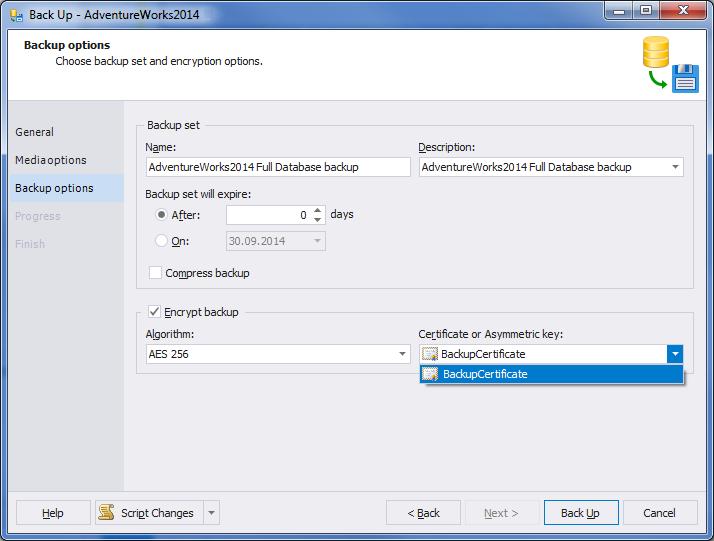 SQL SERVER - A Practical Use of Backup Encryption devbackup4