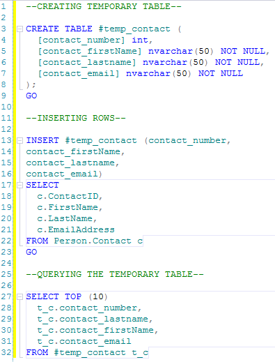 SQL SERVER - Story of Temporary Objects create_table_1