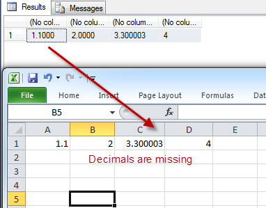 SQL SERVER - Excel Losing Decimal Values When Value Pasted from SSMS ResultSet exceldec