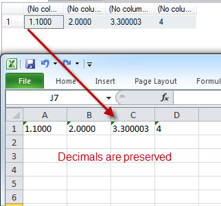 SQL SERVER - Excel Losing Decimal Values When Value Pasted from SSMS ResultSet exceldec4