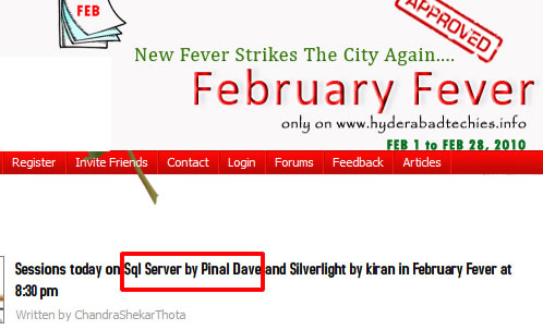 SQLAuthority News - Hyderabad Techies February Fever Feb 11, 2010 - Indexing for Performance febfever