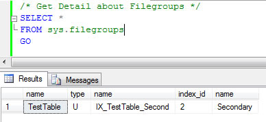 SQL SERVER - List All Objects Created on All Filegroups in Database fg3