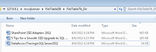 SQL SERVER - Working with FileTables in SQL Server 2012 - Part 2 - Methods to Insert Data Into Table  filetable4