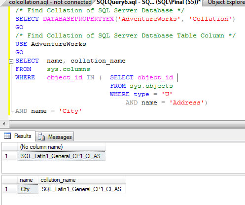 SQL SERVER - Find Collation of Database and Table Column Using T-SQL findcollation