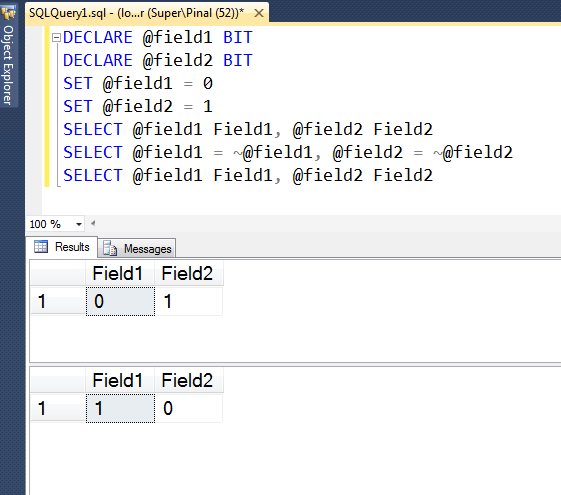 SQL SERVER - How to Flip Value of Bit Field in SQL Server? flipbitfield