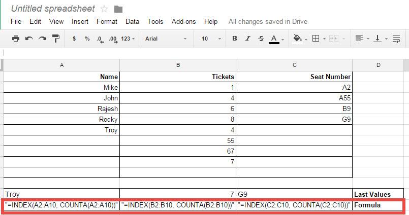 Google Spreadsheet - Finding Last Value from Column googlespreadsheetlastvalue