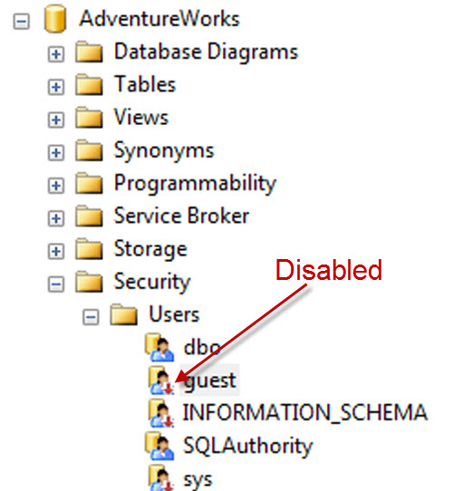SQL SERVER - Detecting guest User Permissions - guest User Access Status guestdisabled