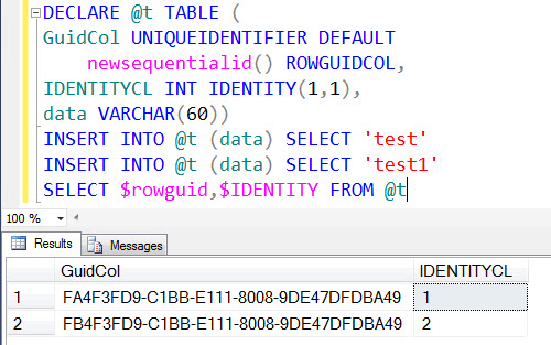 SQL SERVER - Follow up - Usage of $rowguid and $IDENTITY identidentity