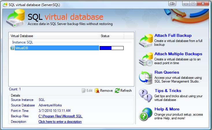 SQL SERVER - Retrieve and Explore Database Backup without Restoring Database - Idera virtual database vdb6