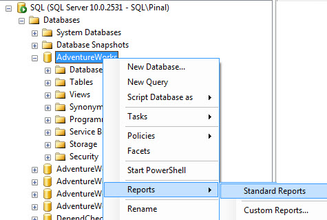 SQL SERVER - Generate Report for Index Physical Statistics - SSMS indexphys1