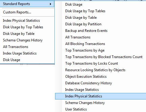 SQL SERVER - Generate Report for Index Physical Statistics - SSMS indexphys2