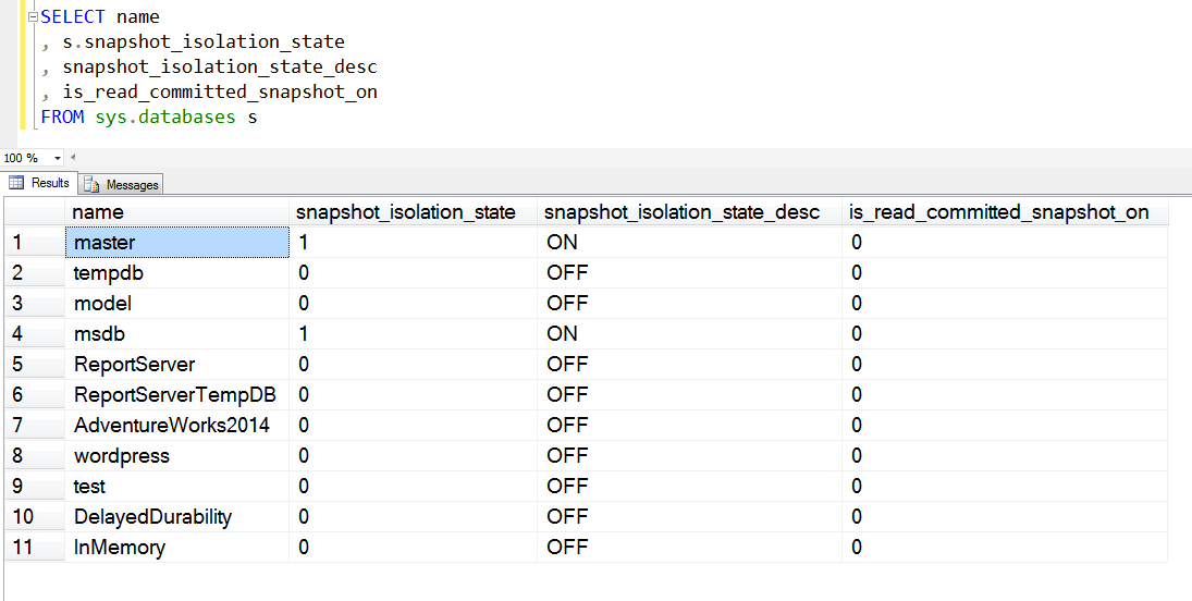 SQL SERVER - How to Check Snapshot Isolation State of Database isolationstate
