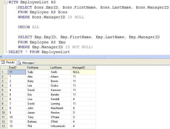Sql server introduction to hierarchical query using a recursive.