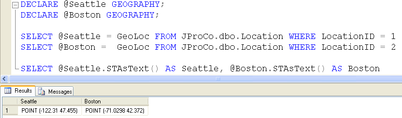 SQL SERVER - Geography Data Type - Calculating Distance Between Two Points on the Earth - Day 18 of 35 J2P_18_7