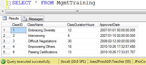 SQL SERVER - Tips from the SQL Joes 2 Pros Development Series - Table-Valued Store Procedure Parameters - Day 25 of 35 j2p_25_3