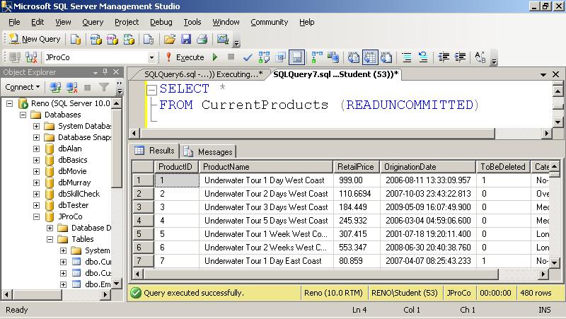 SQL SERVER - Tips from the SQL Joes 2 Pros Development Series - Dirty Records and Table Hints - Day 7 of 35 j2p_7_2