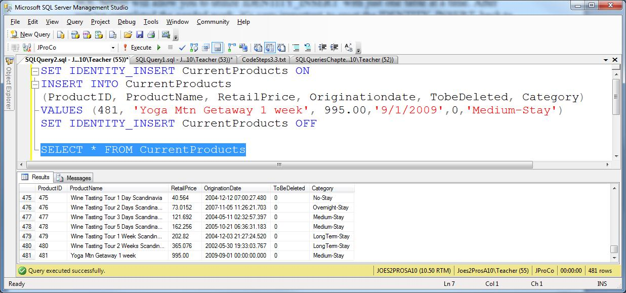 SQL SERVER - Tips from the Development Series - Overriding Identity Fields - Day 9 of 35 j2p_9_8