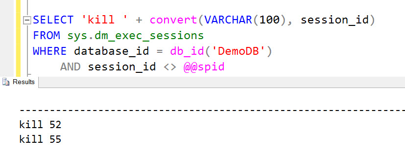 """SQL SERVER – FIX – Error 3702, Level 16, State 3 - Cannot Drop Database """"DB_Name"""" Because it is Currently in Use kill-01"""